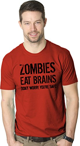 f295646de Mens Zombies Eat Brains So You're Safe Funny T Shirt Living Dead Outbreak  Tee