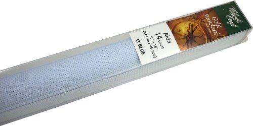 [해외]DMC GD1436-4600 클래식 리저브 골드 라벨 아이다 패브릭 박스, 라이트 블루, 14 카운트/DMC GD1436-4600 Classic Reserve Gold Label Aida Fabric Box, Light Blue, 14 Count