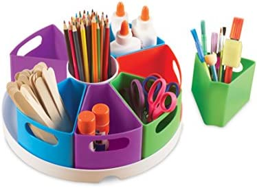 Learning Resources Create-a-Space Storage Center, Homeschool Accessories, Fits 3oz Hand Sanitizer Bottles, Bright Colors, Classroom Craft Keeper, 10 Piece set