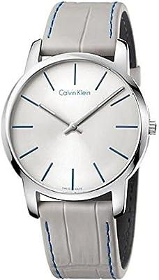 Men's Calvin Klein ck City Grey Leather Strap Watch K2G211Q4