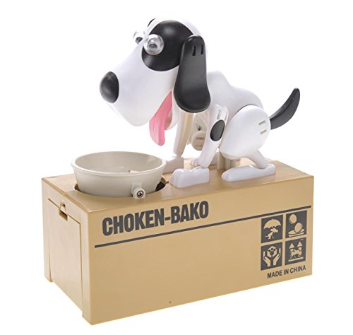 PowerTRC® Toy Figure Dog Piggy Bank (White Black)
