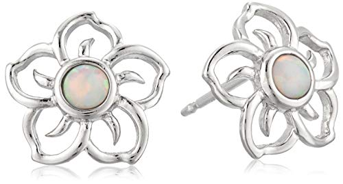 (Sterling Silver Created Opal Flower Stud Earrings)
