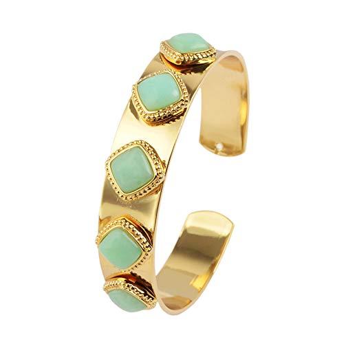 ZENGORI 1 Piece Gold Plated Five Diamond Shape Australian Jade Bezel Setting -