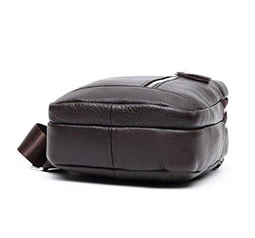 Herren Leder Brust Tasche Tragen Weichen Leder Sporttasche Messenger Bag Brown NTeZd