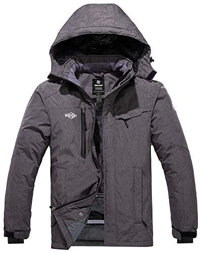 Wantdo Men's Hooded Mountain Ski Fleece Jacket Windproof Rain Coat Outdoors