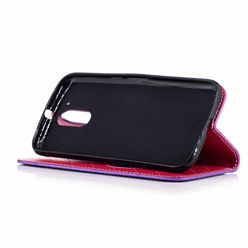 Yiizy Motorola Moto G4 Custodia Cover, Amare Design Sottile Flip Portafoglio PU Pelle Cuoio Copertura Shell Case Slot Schede Cavalletto Stile Libro Bumper Protettivo Borsa (Viola)