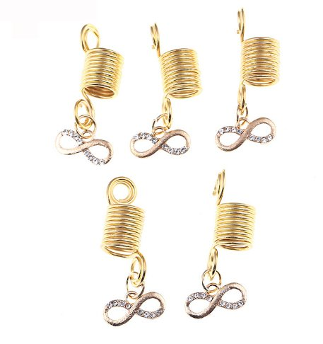 ty Sign Alloy Crystal Spring Hollow adjustable plated Braiding DIY Accessory Dread lock Hair Beads Hair Braid Pins Rings Cuff Clips Tibetan Jewelry Decor (Alloy Lock Ring)