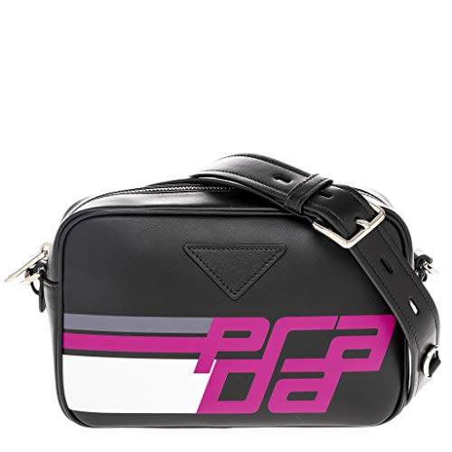 - Prada Logo City Calf Leather Camera Bag Black & Pink