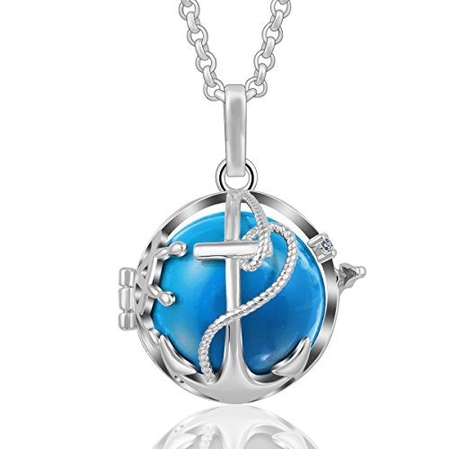 AEONSLOVE Retro Ship Anchor Cubic Zirconia Harmony Bola Chime Bell Pendant Necklace, 30'' Chain for Women -