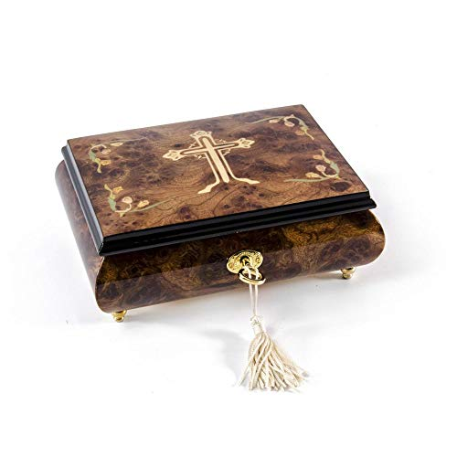 Holy Cross with Floral Motifs Wood Inlay 30 Note Musical Jewelry Box - Laras Theme