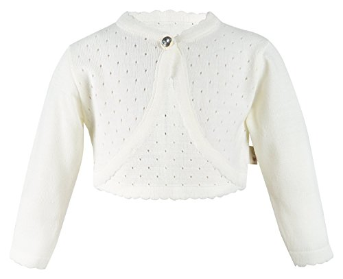 Lilax Little Girls' Knit Long Sleeve One Button Closure Bolero Shrug 3T (Ivory Cream Button)