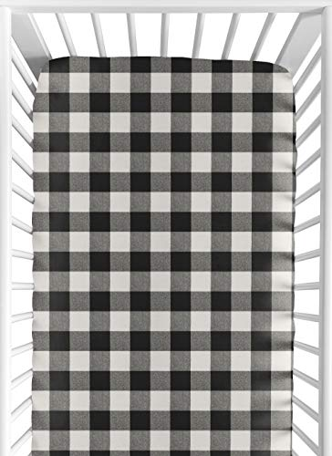 Sweet Jojo Designs Black and White Rustic Farmhouse Woodland Flannel Unisex Boy or Girl Baby or Toddler Fitted Crib Sheet for Buffalo Plaid Check Collection - Country Lumberjack ()