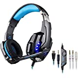 Mictech G9000 Gaming Headset headphone wired gaming earphone headphone for PlayStation 4 PS4 IOS Mobilephones, 3.5mm with Microphone LED Light with MIC. (blue)