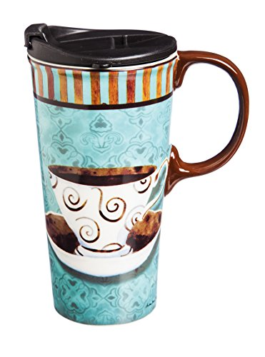 (Cypress Home Deja Brew 17 oz Boxed Ceramic Perfect Travel Coffee Mug or Tea Cup with Lid - 3
