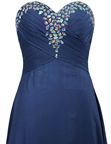 Gown Strapless Long Evening Prom Bead Blue Navy Dresses Women's ANTS 7q5H70