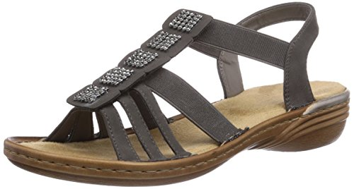 Rieker 60361 - sandalias abiertas de material sintético mujer gris - Grau (stromboli / 45)