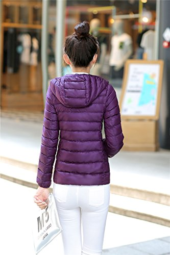 Coat Quibine Ultralight Jacket Down Down Purple Women's Packble Quilted Hooded wwUWgqXfF