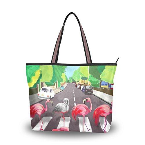 ALAZA Tote Bag Pink Flamingo Abbey Road Top Designer Handbags Purse Shoulder Bag for (Abbey Tote Handbags)