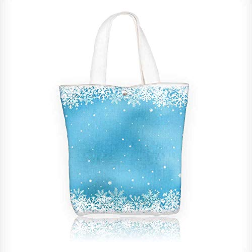 Canvas Tote Bag the white snow blue mesh background winter and theme Hanbag Women Shoulder Bag Fashion Tote Bag W11xH11xD3 INCH