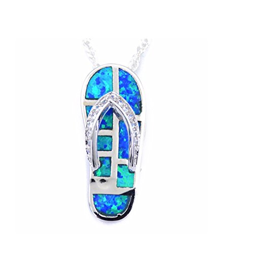 Chandria's Treasures Synthetic Blue Fire Opal Flip Flop Pendant Necklace 18