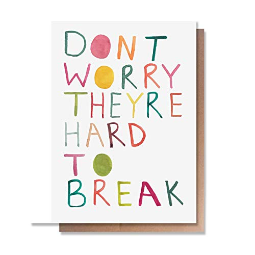 Funny Baby Boy or Girl Card by Wunderkid - Don't Worry They Are Hard to Break (Blank inside) (Congrats Message For New Born Baby Boy)
