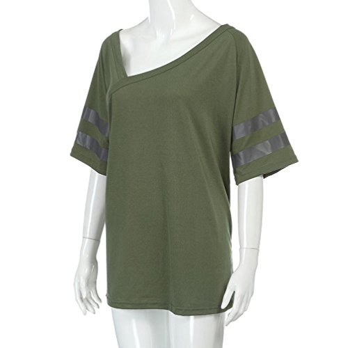 Bluester Women Loose V-Neck Half Sleeve Casual T-Shirt, Ladies Casual Irregular Design Blouse Green