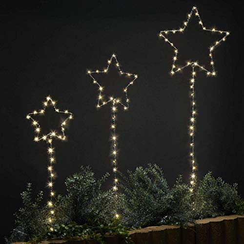 LampLust Outdoor Garden Stake Lights, Black Metal Star Shape with Twinkling Fairy Lights, Plugin, Waterproof, UL Listed - Set of 3