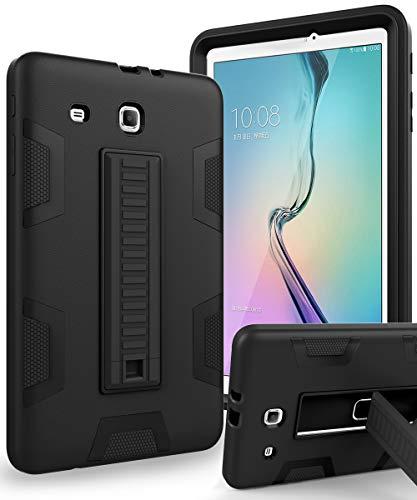 TIANLI Samsung Galaxy Tab E 9.6 Case Anti-Scratch Shockproof Three Layer Full Body Armor Protection with Sturdy Kickstand Anti-Fingerprint,Black