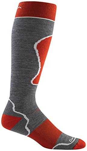 Darn Tough Merino Wool Alpine Ski Over-the-Calf Padded Cushion Socks - Men's Gray/Red Large