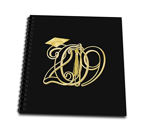 3dRose Beverly Turner Graduation Design - Intertwining 2019 with Graduation Cap and Tassel, Gold on Black Color - Drawing Book 8 x 8 inch (db_301990_1)
