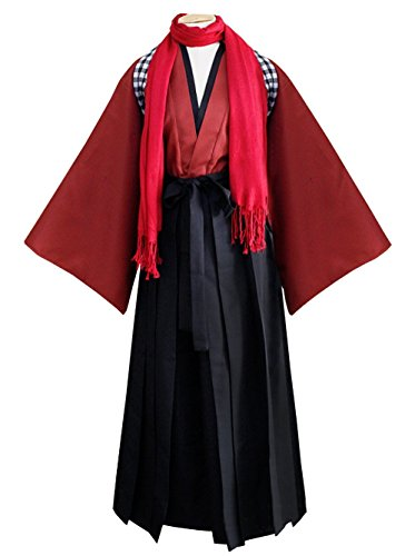 ZYHCOS Red Kimono Black Pants with Red Scarf