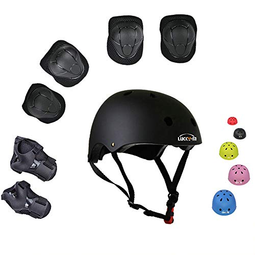 Lucky-M Kids Outdoor Sports Protective Gear,Boys and Girls Safety Pads Set [Helmet,Knee&Elbow Pads and Wrist Guards] for Roller, Scooter, Skateboard, Bicycle(3-8 Years Old)(Black)