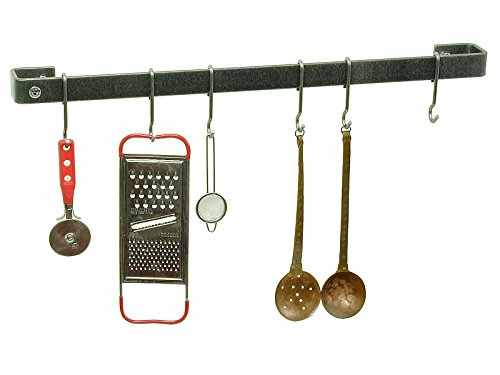 Enclume Premier 18-Inch Utensil Bar Wall Pot Rack, Hammered Steel