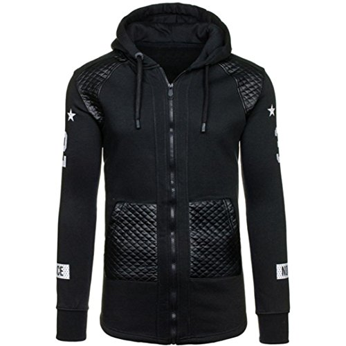 IEason Men Top, Men Leather Winter Warm Hooded Sweatshirt Coat Jacket Outwear Sweater (L, Black)