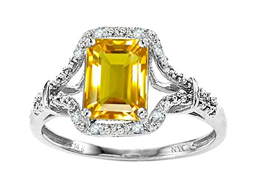 Citrine Emerald Ring (Star K Emerald Cut 8x6 mm Genuine Citrine Ring 14 kt White Gold Size 4.5)