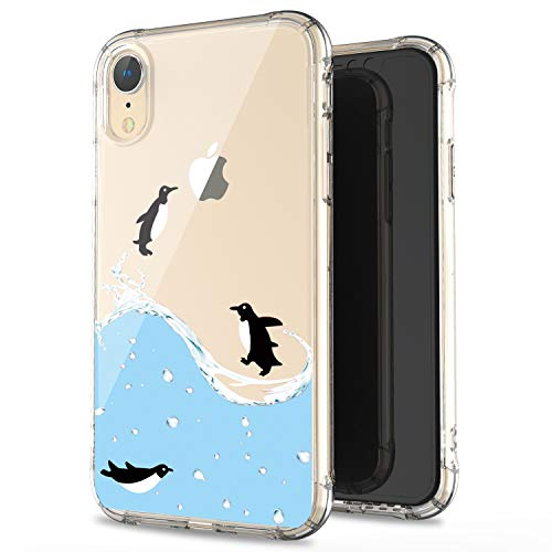 JAHOLAN Compatible iPhone XR Case Clear Cute Amusing Whimsical Design Black Penguin Fly Flexible Bumper TPU Soft Rubber Silicone Cover Phone Case for iPhone XR 2018 6.1 inch