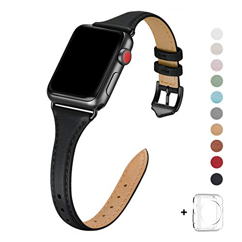 WFEAGL Leather Bands Compatible with Apple Watch 42mm 44mm, Top Grain Leather Band Slim & Thin Wristband for iWatch Series 5 & Series 4/3/2/1(Black+Black, 42mm 44mm Small & Middle Size)