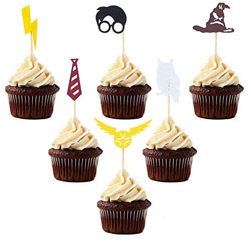 (Inspired Cupcake Toppers, 30 PCS Wizard Birthday Party Decorations Supplies Hogwarts Party Novelty Decorations)