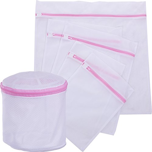 BEWISHOME 6 Pack Mesh Laundry Bags (1 bra Bag, 1 extra large, 2 large & 2 medium) - Wash Bag w/ Zipper for Intimates, Delicates, Lingerie, Blouse, Hosiery, Stocking, Underwear and Travel FHD03W (Protector Garment Laundry)