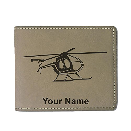 (Faux Leather Wallet, Helicopter 1, Personalized Engraving Included (Light Brown))