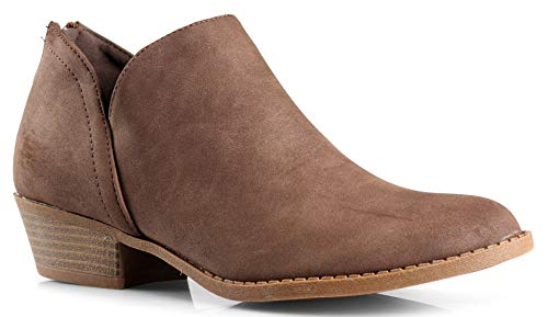LUSTHAVE Women's Drew Western Almond Round Toe Slip on Bootie - Low Stack Heel - Zip Up - Casual Ankle Boot Brown PU 7