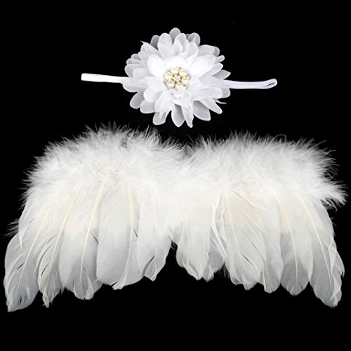 Bestpriceam Baby Angel Feather Wings Wing Feather Photo Prop Girls Flower Hair Accessories (White)