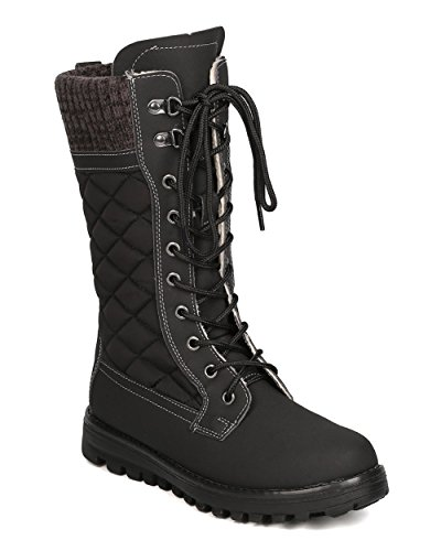 Refresh Women Mixed Media Mid-Calf Quilted Lace Up Winter Boot GB11 Black