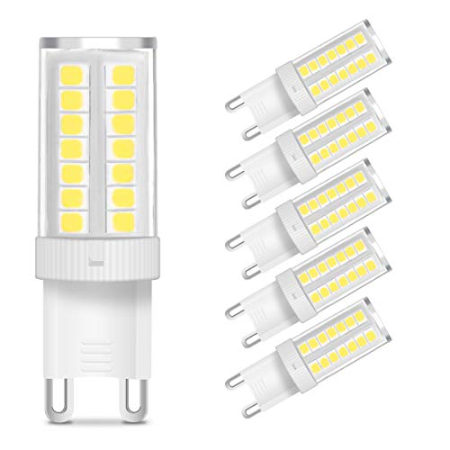 KingSo G9 LED Bulb 5W (40W Halogen Bulb Equivalent) 400 Lumens G9 Bi-pin Base LED Light Bulb Daylight White 6000K AC 110V 360° Beam Angle Non-dimmable for Home Lighting Chandelier (Pack of 5)