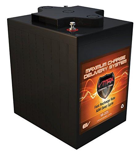 VMAX V6-225 6 Volt 225Ah Group GC2 AGM Deep Cycle Battery. Capacity: 225Ah; Energy: 1.55kWH; Reserve Capacity: 500min (Gc2 Cart Battery Golf)