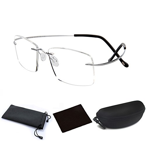 Ultra Lightweight Titanium Alloy Flex Arm Bendable Flexible Rimless Rectangle Reading Glasses Men Women Eye Glasses Clear Vision Magnifying Presbyopic Glasses Silver with Portable Eyewear Case (3.0 - Titanium Arm