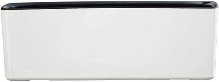 Macetero rectangular de plástico, sistema de riego, maceta interior, maceta para plantas, color blanco y azul
