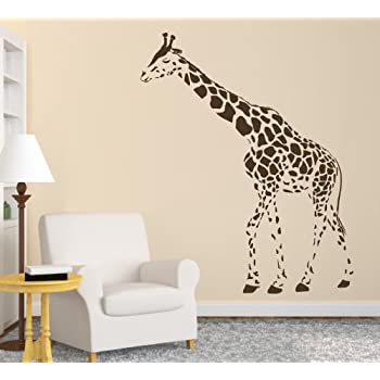Animal Wild Zoo Giraffe Left Direction Wall Decal Sticker Living Room  Stickers Vinyl Removable Wide 95cm High 120cm Brown Color
