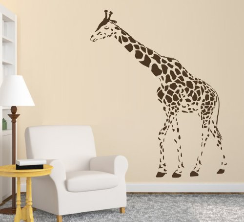 [Animal Wild Zoo Giraffe Left Direction Wall Decal Sticker Living Room Stickers Vinyl Removable Wide 95cm High 120cm Brown Color] (Giraffe Decal)