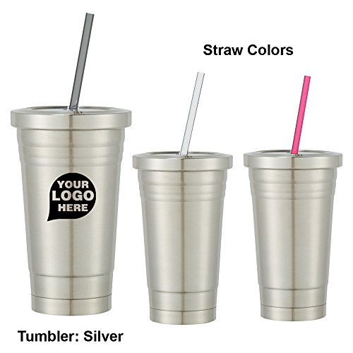 16 Oz. Stainless Steel Cold Cup With Straw - 96 Quantity - $7.69 Each - PROMOTIONAL PRODUCT / BULK / BRANDED with YOUR LOGO / CUSTOMIZED by CloseoutPromo